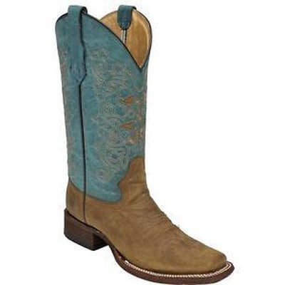 Circle G by Corral Ladies Square Toe Cowboy Western Boots Tan/Turquoise L5134