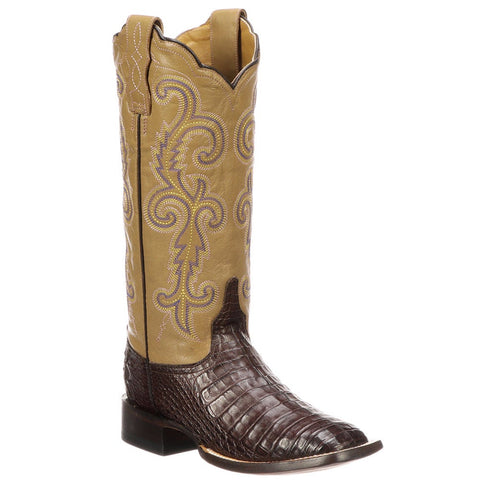 Lucchese Women's Annalyn Exotic Caiman Western Boots Cafe M4942