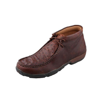 Men's Driving Moccasins – Oiled Saddle Full Quill Ostrich/Brandy Twisted X MDM0015