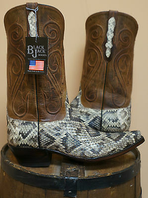 Mens Black Jack Exotic Western Boots Rattlesnake!! STYLE 618-NWT MADE IN USA!