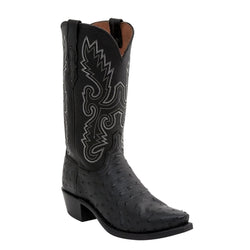 Men's Lucchese Pin Ostrich Boots Black N1063.54