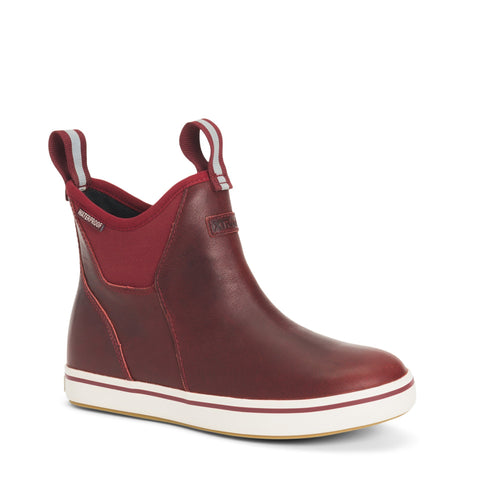 WOMEN'S LEATHER 6 IN ANKLE DECK BOOT XWAL-600 CABERNET