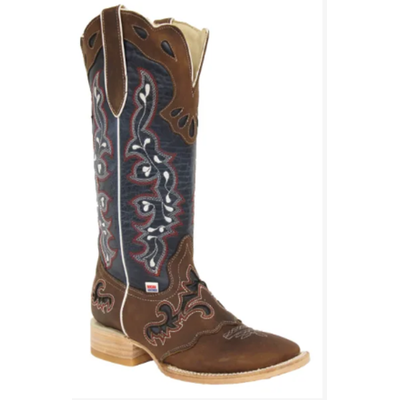 2127 - RockinLeather Womens Tall Distressed Brown Boot With Wide Square Toe