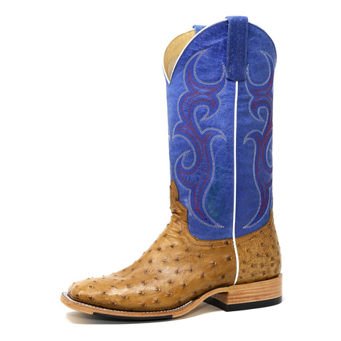 HORSEPOWER MEN'S ANTIQUE SADDLE OSTRICH & ROYAL BLUE SQUARE TOE BOOTS HP8005