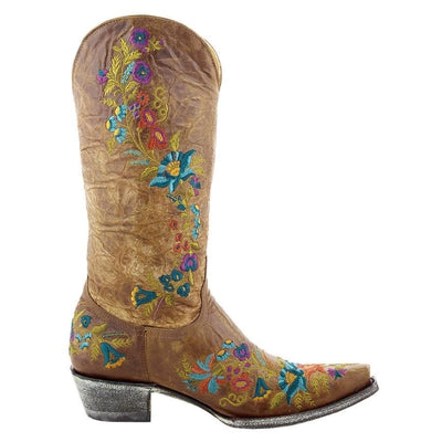 LADIES OLD GRINGO JASMINE TAN FLOWER COWGIRL WESTERN BOOT L-1286-5