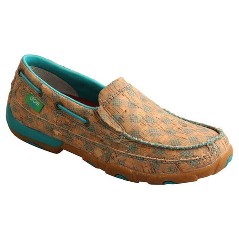 Twisted X Ladies Tan & Turquoise Slip On Driving Mocs WDMS022