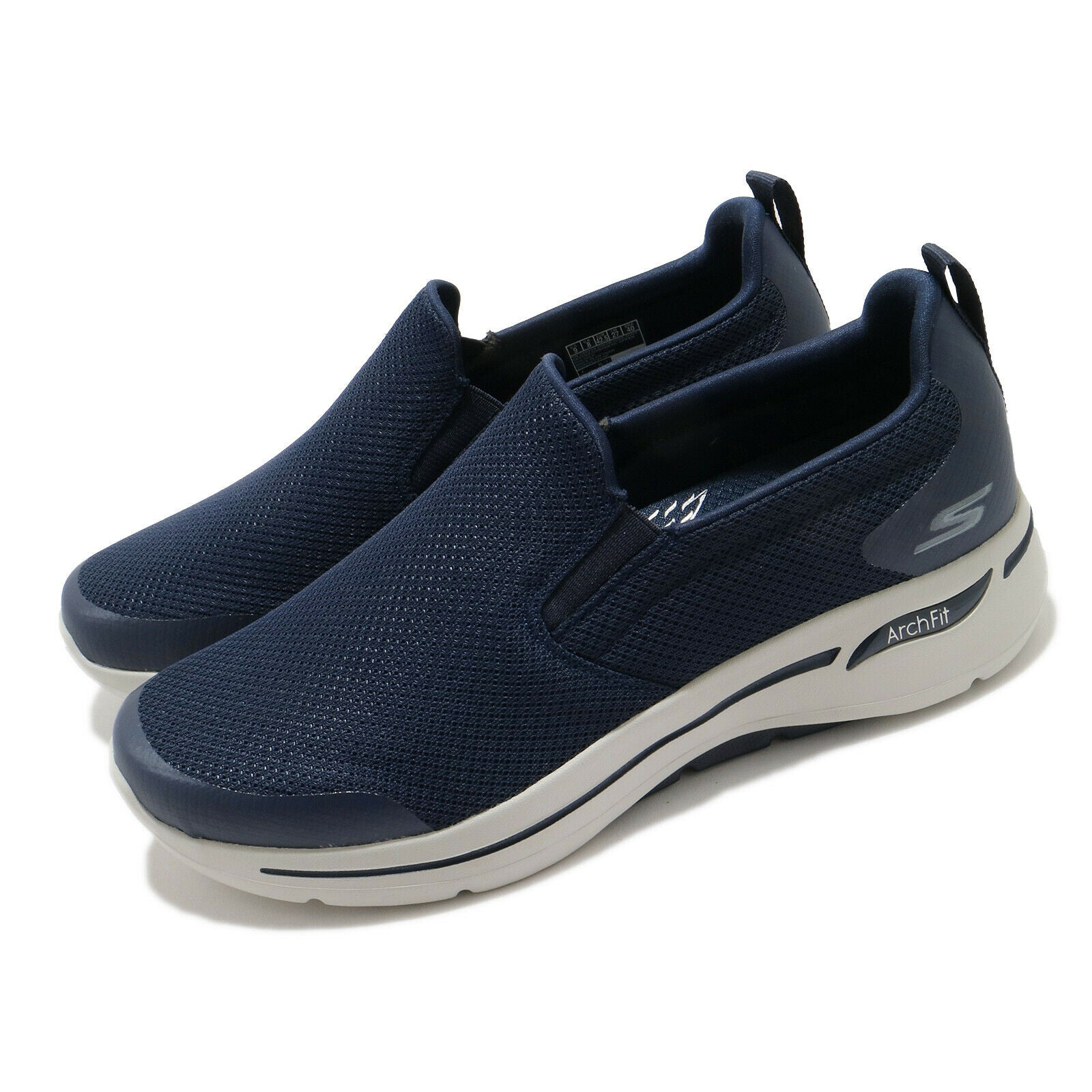 Skechers Go Walk Arch Fit-Topath Navy Grey Men Slip On Shoes Loafers 216121-NVGY