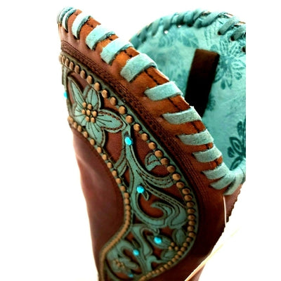 Women's Corral Chocolate/Turquoise Overlay Woven Crystals & Studs Snip Toe Boot E1538