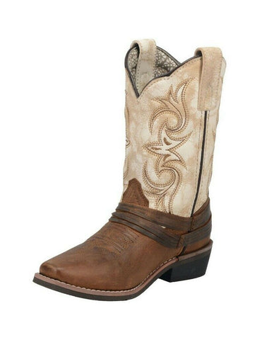 "Dan Post Western Boots Girls 8"" Lil' Myra Leather Brown White DPC2911"