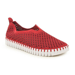 Women's Ilse Jacobsen Tulip Deep Red Slip-On Scalloped Sneaker