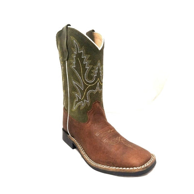 YOUTH BOYS SQUARE TOE POCONO WESTERN BOOTS GREEN UPPER 388-30Y-CTR