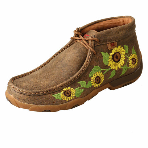 WDM0128 Twisted X Women's Chukka Driving Moc with Sunflower Design