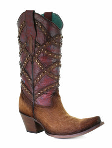 Corral Women's Brown/Red Fur & Overlay & Studs Boots C3608