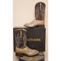 MEN'S TRADITIONS BY OLD GRINGO TAN CAIMAN BELLY WESTERN BOOTS MT2315-1
