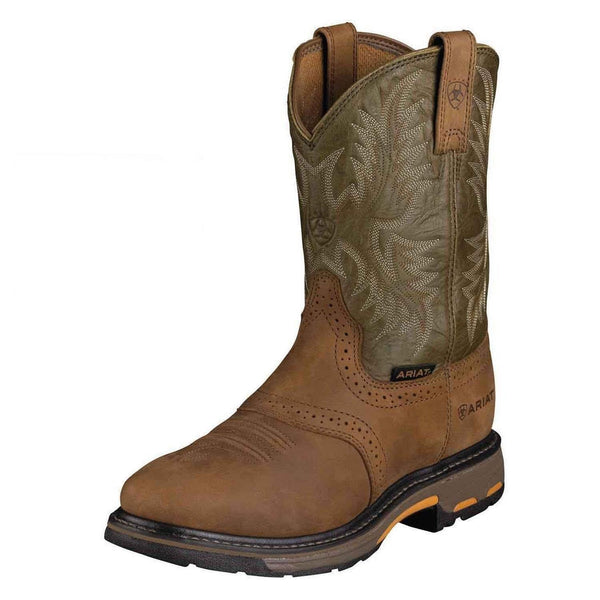 MEN'S ARIAT WORKHOG AGED BARK/ ARMY GREEN WESTERN WORK BOOTS 10001188 16916