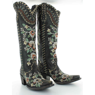 Old Gringo DDL026-2 DOUBLE D RANCH ALMOST FAMOUS BLACK EMBROIDERED FLORAL TALL BOOTS