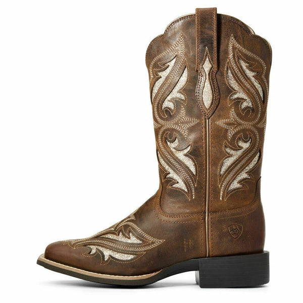 Women's Ariat Round Up Bliss Sassy Brown Wide Sq Toe 10034056