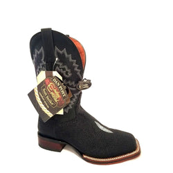 DAN POST MEN'S BLACK STING RAY SQUARE TOE WESTERN BOOTS DP4520