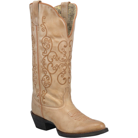 "Laredo 51123 Women's Lindy 13"" Tan Leather Round Toe Cowgirl Western Boots Shoes"