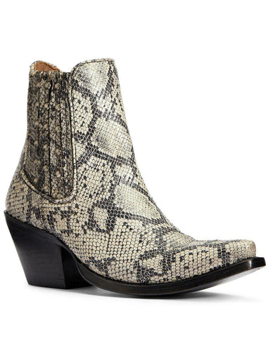Ariat Women's White Snake Eclipse Fashion Booties - Snip Toe - 10033891