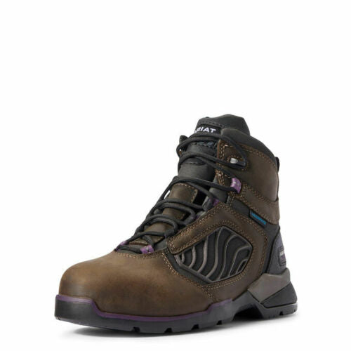 "Women's Ariat Rebar Flex 6"" Carbon Toe Dark Brown Lace Up Work Boot 10031420"