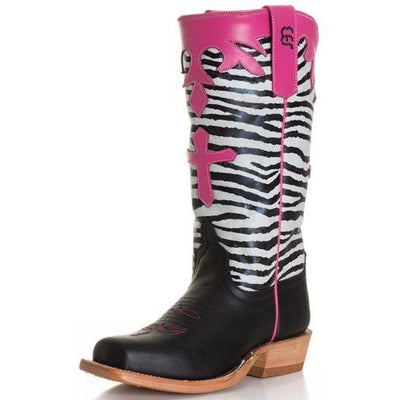 d9e24bba8197 CHILDREN'S/ GIRLS ANDERSON BEAN TALL ZEBRA TOP WITH CROSS WESTERN BOOT –  Country View Western