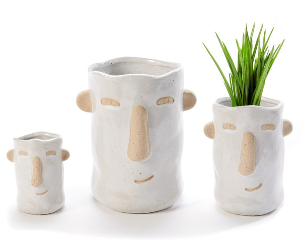 Face Design Planter, Set of 3