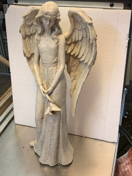 Large Angel Figure Holding Calla Lilies
