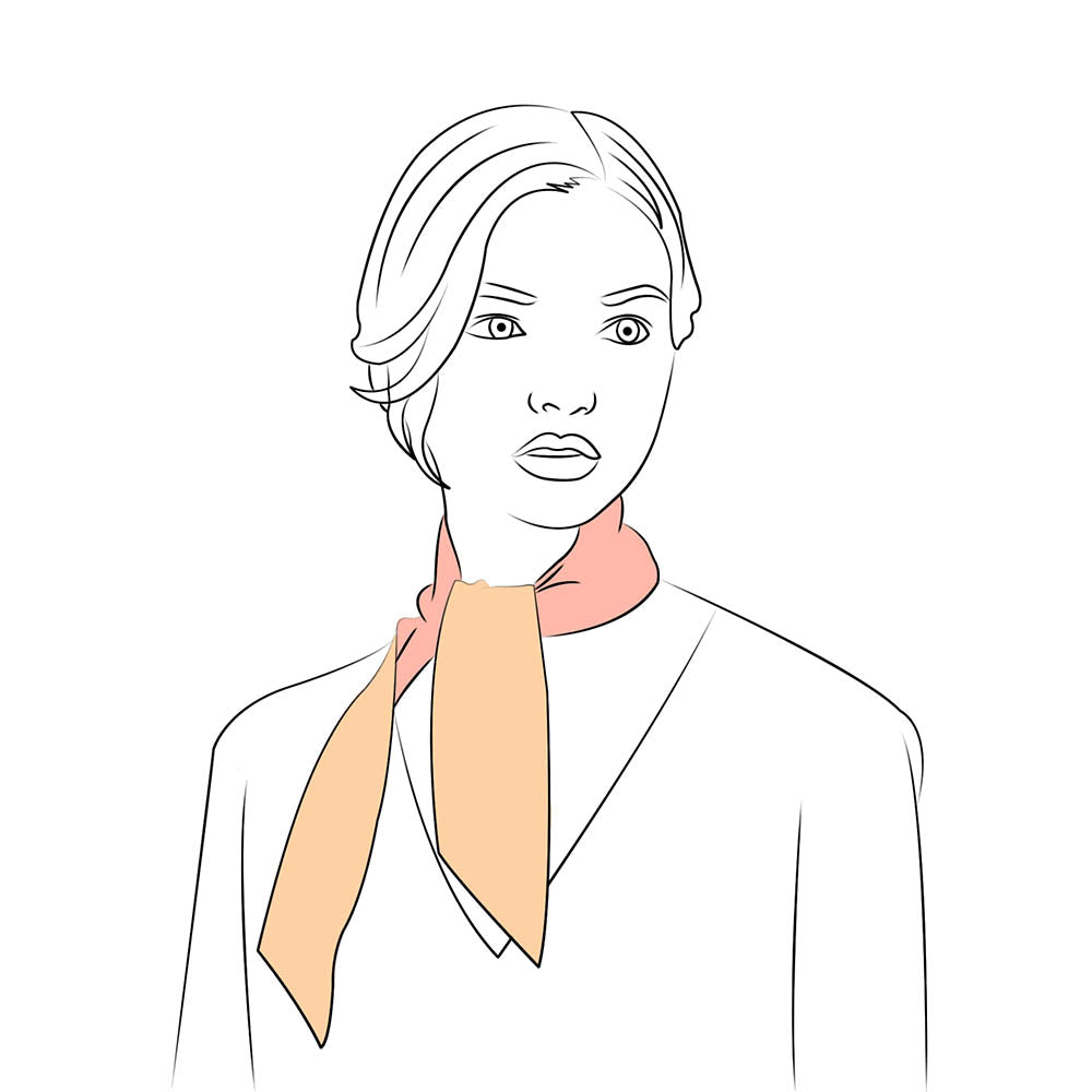 long silk scarf tied around the neck