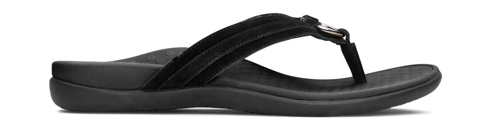 Women's Tide Aloe Toe-Post Sandal- Flip- Flop with Concealed Orthotic Arch Support- Black Suede