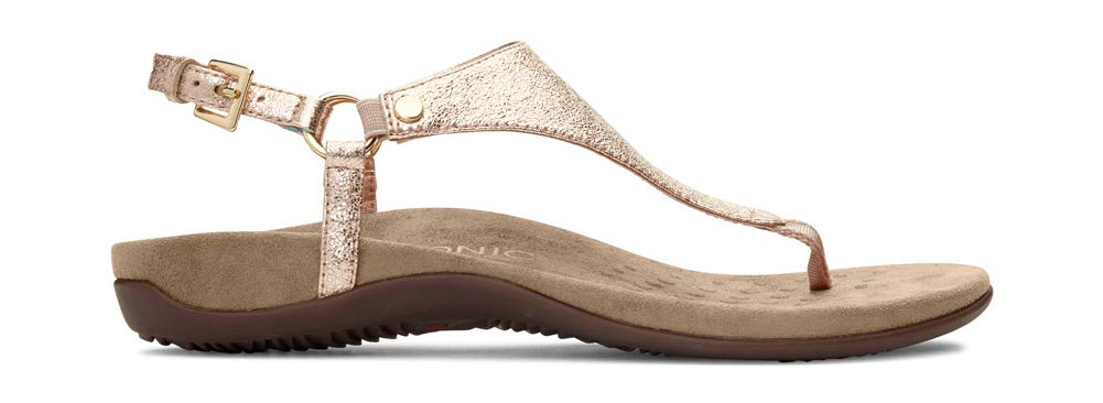 Women's Rest Kirra Back Strap Sandals with Concealed Orthotic Arch Support- Rose Gold Metallic