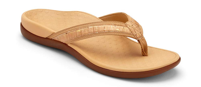 Women's Tide II Toe Post Sandal - Flip Flop with Concealed Orthotic Arch Support-  Gold Cork