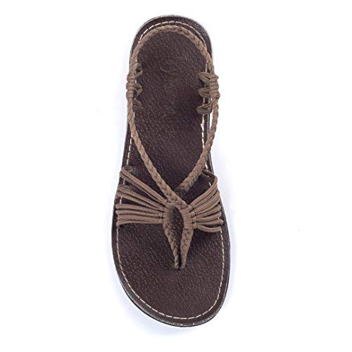 Plaka Flat Summer Sandals for Women Taupe Seashell
