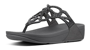 FitFlop Women's Bumble Crystal Toe-Thong Sandals -Pewter