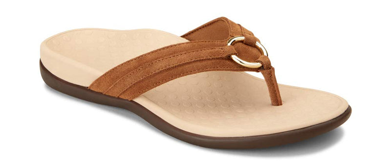 Women's Tide Aloe Toe-Post Sandal  Flip- Flop with Concealed Orthotic Arch Support -Toffee Suede