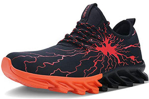 Teen's Fashion Graffiti Sneakers With Personality Breathable-Black Red