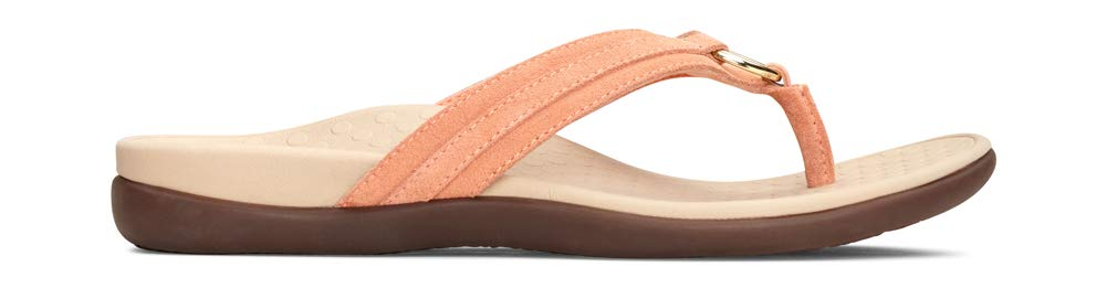 Women's Tide Aloe Toe-Post Sandal - Flip- Flop with Concealed Orthotic Arch Support- Salmon Suede