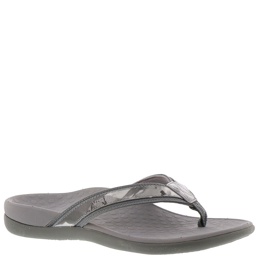 Women's Tide II Toe Post Sandal - Flip Flop with Concealed Orthotic Arch Support -Grey Floral