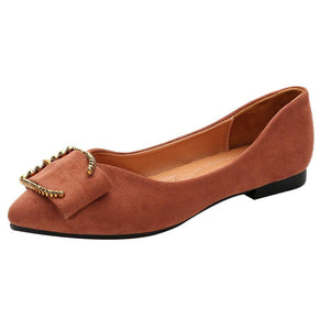 Women's Classic Suede Pointy Toe Ballet Slip On Flat Shoes- Suede Brown