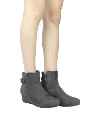 Women's Low Wedge Heel Ankle Boots- Lang Grey