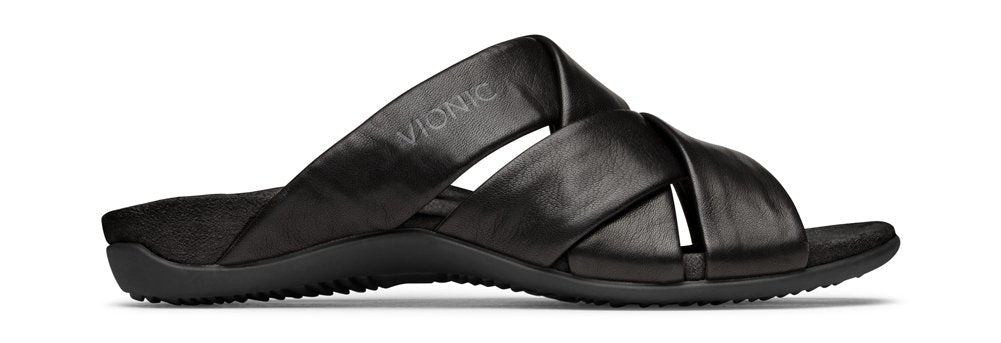 Women's Rest Juno Slide- Sandals with Concealed Orthotic Arch Support-  Black