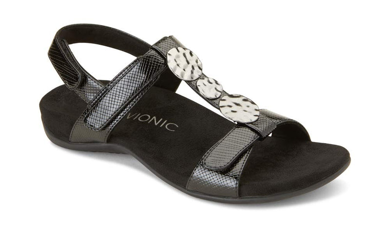 Women's Rest Farra Back Strap Sandals- Black Lizard
