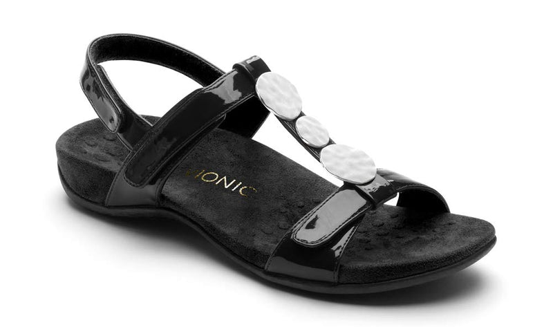 Women's Rest Farra Back Strap Sandals- Black Patent