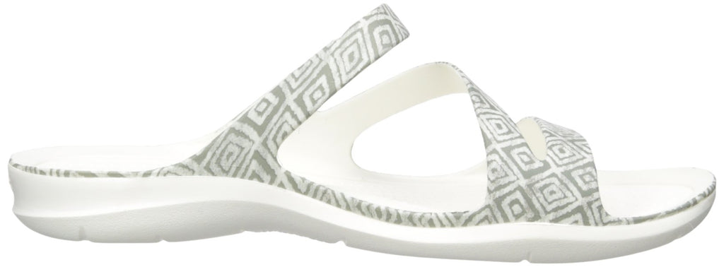 Crocs Women's Swift Water Graphic Sandal W Sport Grey Diamond/White
