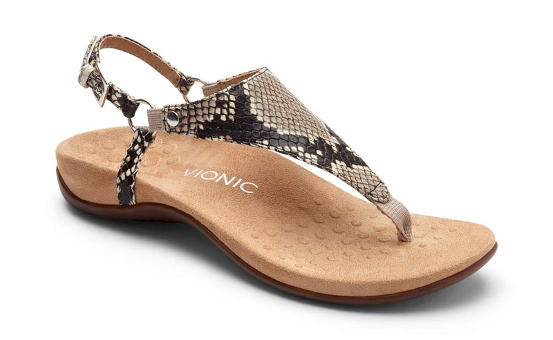 Women's Rest Kirra Back Strap Sandals with Concealed Orthotic Arch Support -Natural Snake