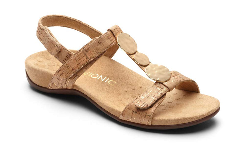 Women's Rest Farra Back strap Sandal - Adjustable Sandals with Concealed Orthotic Support-  Gold Cork