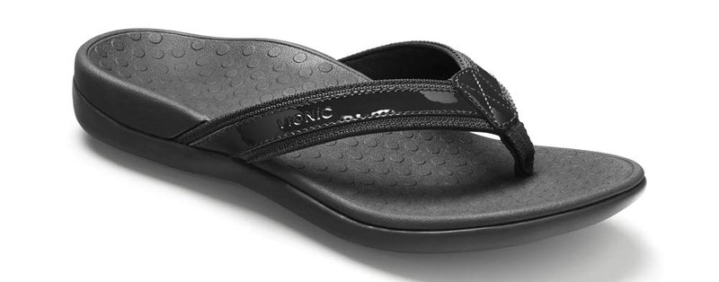 Women's Tide II Toe Post Sandal - Flip Flop with Concealed Orthotic Arch Support - Black