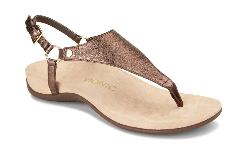 Women's Rest Kirra Back Strap Sandals with Concealed Orthotic Arch Support - Bronze Metallic