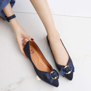 Women's Pointed Toe Ballet Suede Slip On Dress Flats- Navy