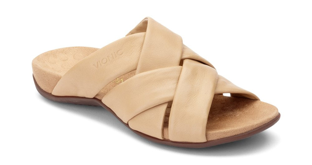 Women's Rest Juno Slide- Sandals with Concealed Orthotic Arch Support- Tan